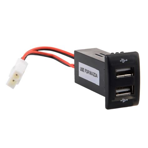diy 2 1a dual usb port car charger for mazda black 12