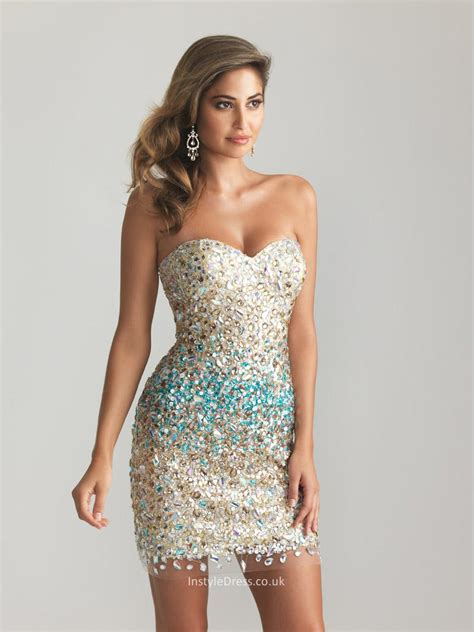 beaded cocktail dress sparkly beaded sequin strapless sweetheart sheath