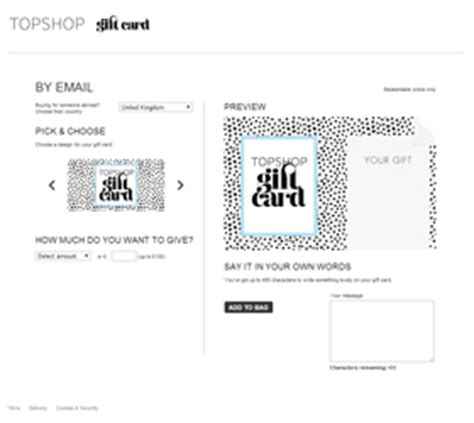 Topshop Gift Cards - evouchers mobile vouchers electronic gift cards