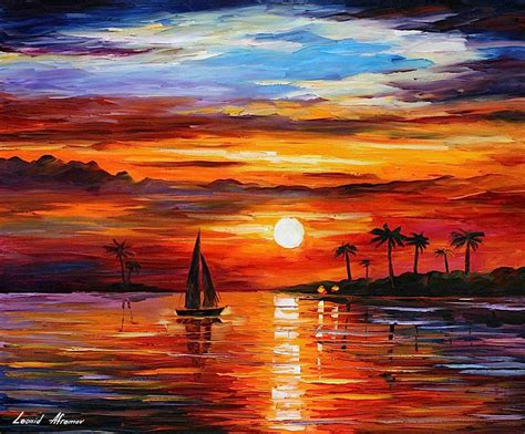 best painting sunset palette knife oil painting on canvas by leonid