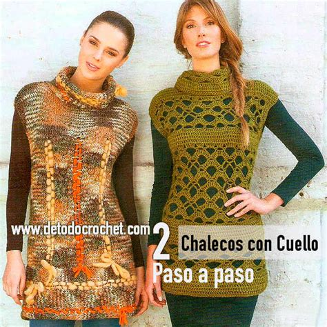 chaleco crochet para mujer abierto con botones paso a paso chalecos cuello tortuga paso a paso ganchillo y dos agujas