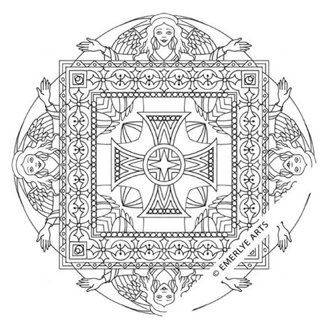 coloring pages of christian symbols quot angel square mandala quot coloring page using ancient