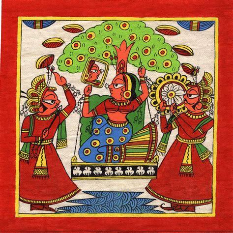 Handmade Painting - rajasthan phad painting handmade indian folk miniature