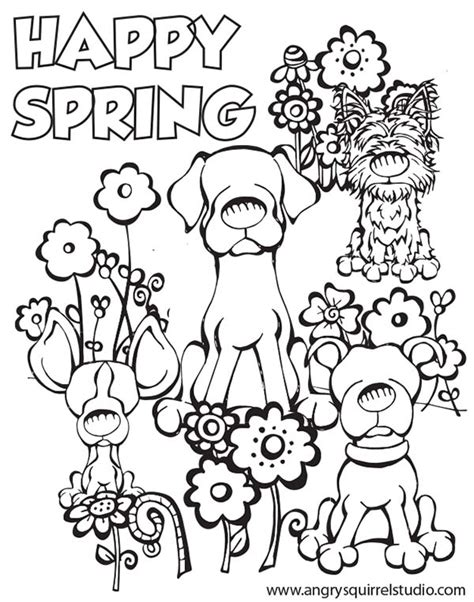 springtime coloring pages happy angry squirrel studio