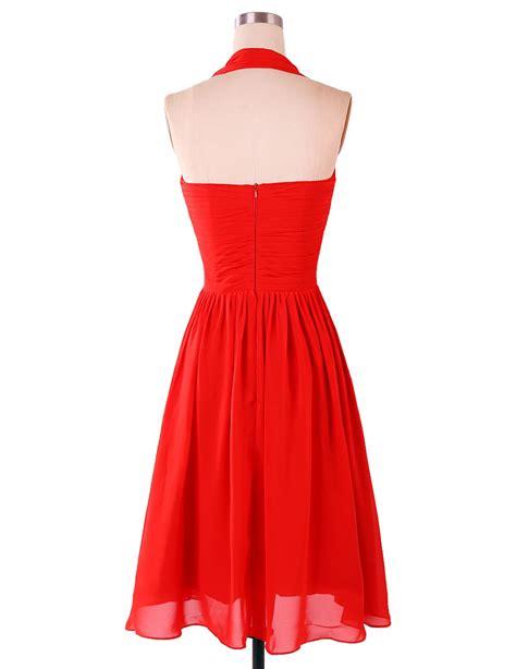 L 835 Simple Dress Length Dama Dress Ruch Empire Halter Chiffon