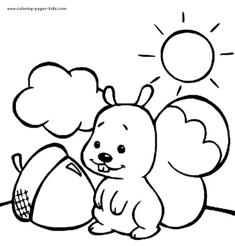 kleurplaat squirrel on a sunny day free printable squirrel with a nut on a sunny day color page