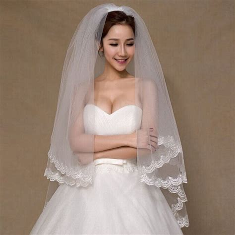 7 Stunning Wedding Veils by Aliexpress Buy 2 Tier Bridal Veil Beautiful Ivory