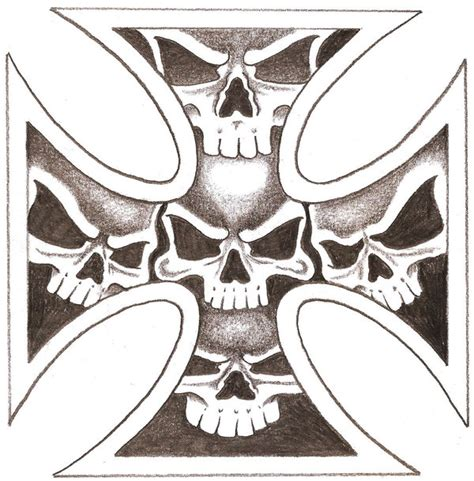 iron cross skull tattoo iron skull cross by thelob on deviantart