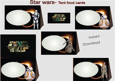 Star Wars Food Labels Food Tents Cards Tags Star Wars Party Wars Food Labels Template Free