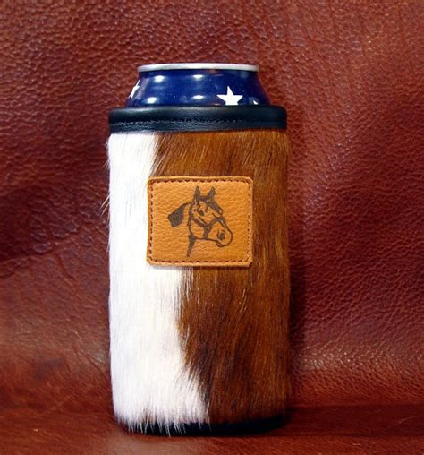cowhide koozie quarter accent on a cowhide leather water bottle