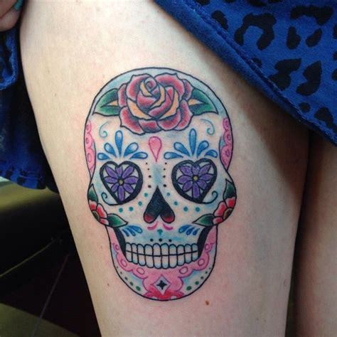 colorful skull tattoos colorful feminine sugar skull on thigh