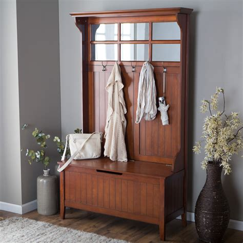 cherry wood storage bench cherry entryway wood hall tree coat rack storage bench with mirror