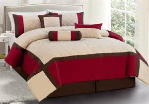 7 pc comforter set burgundy brown beige king size new ebay