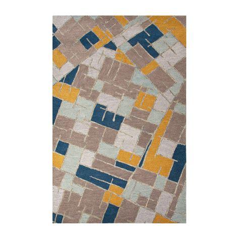 Modern Geometric Big Cats Wool Area Rug Blue Multi 2 Modern Geometric Rugs