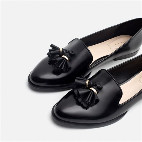with flat shoes zara flat shoes with tassels in black lyst
