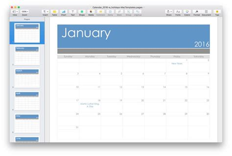 2016 Calendar Template For Pages Pdf Mactemplates Com Mac Pages Templates
