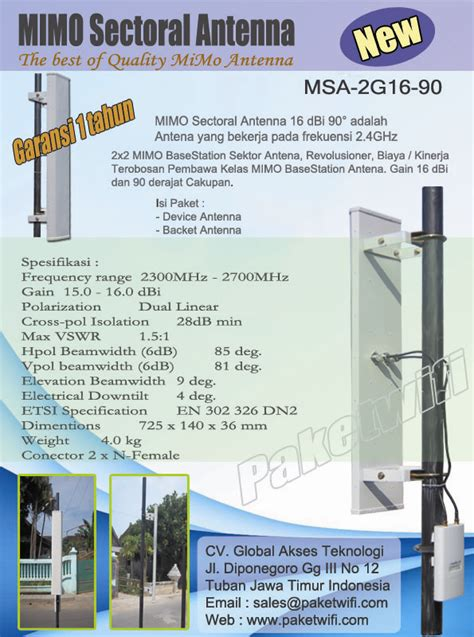Cuci Gudang Antena Sectoral Mimo Rnet Wifi 2 4ghz Pigtail antenna rt rw net bts wireless