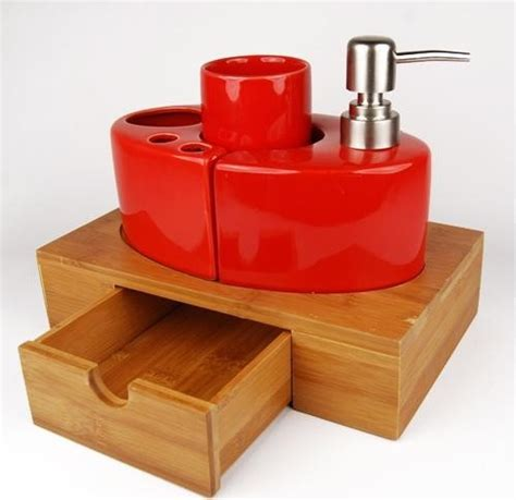 ceramic bath accessory set with bamboo caddy