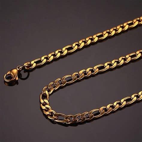 cadena para hombre de acero cadena de acero inoxidable dorada para hombre 6mm x 76cm