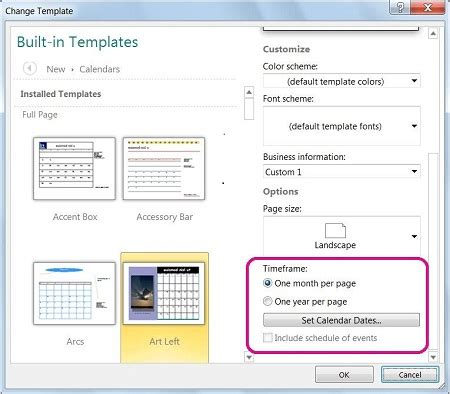 Change The Dates On A Calendar In Publisher Publisher Change Page Template