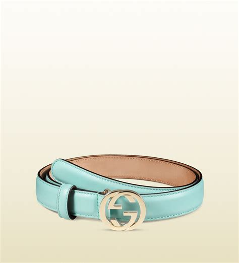 Gucci 2014 Blue lyst gucci leather belt with interlocking g buckle in