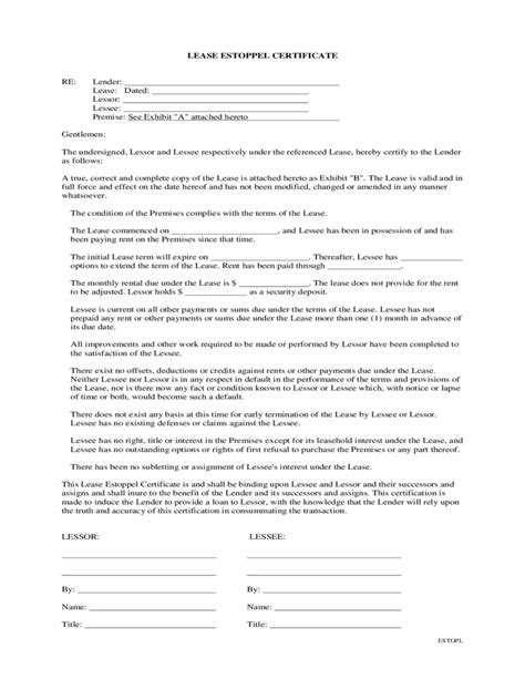 Bank Estoppel Letter estoppel certificate form 3 free templates in pdf word