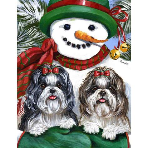 shih tzu as a pet shop precious pet paintings shih tzu winter flag at lowes