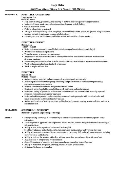 pipefitter resume exles pipefitter resume sles velvet