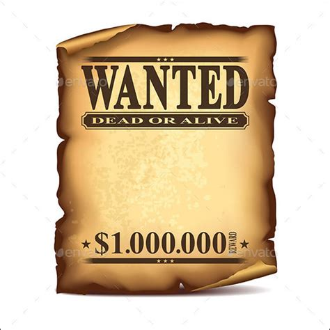 20 Free Wanted Poster Templates To Download Sle Templates Wanted Poster Template