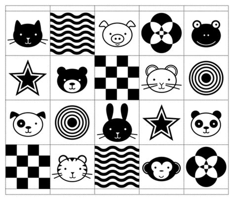 Black And White Pattern Books For Babies | black white baby animals fabric jenimp spoonflower