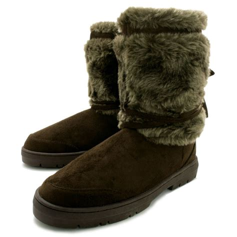 buy bridget flat fur winter boots brown suede style