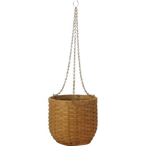 Handmade Hanging L - c 1920 handmade small splint basket hanging planter from