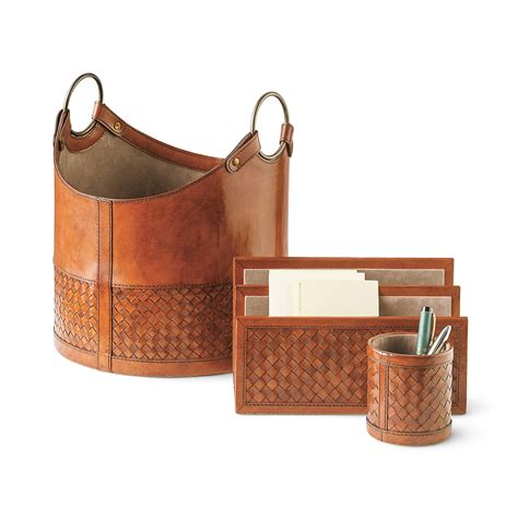 Woven Leather Desk Accessories Gump S Leather Desk Accessories