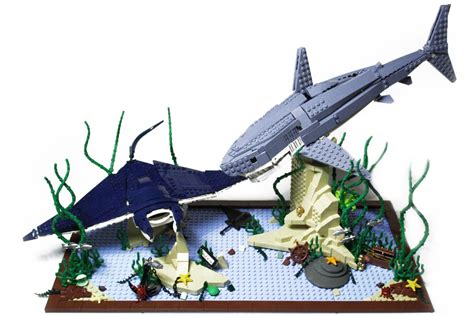 lego boat and shark predator and prey by orion pax nautic sealife lego gallery