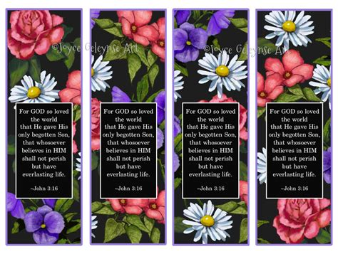 free printable nature bookmarks printable bookmarks john 3 16 flowers on black background