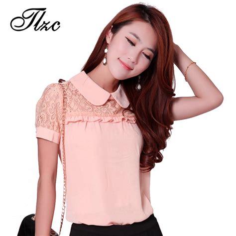 Blouse Katun Bigsize 3 tlzc floral pattern chiffon shirts pink large size s 3xl lace patchwork doll collar