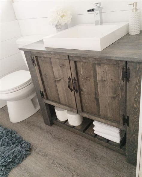 diy bathroom sink cabinet i m liking the rustic vanity here hmmm too much