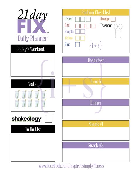 printable meal planner 21 day fix 21 day fix meal planner the inspire tribe
