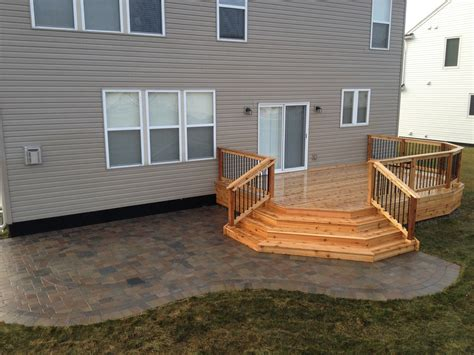 Wood Pavers For Patio by Cedar Deck And Brick Paver Patio Decks Our Projects