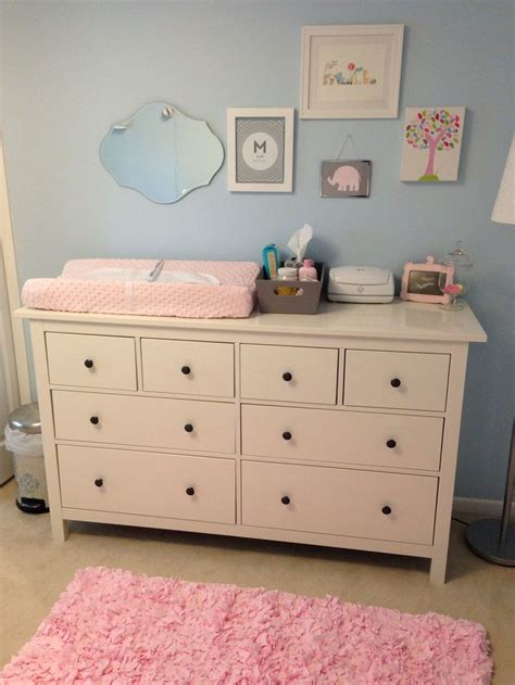 Dresser Changing Table Ikea Light Blue Pink Nursery With Ikea Dresser As Changing Table To Raise Nursery