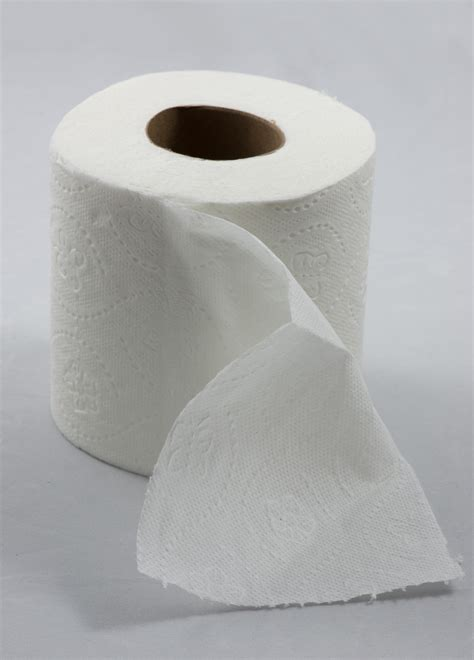 toilet paper roller file roll of toilet paper with one sheet folded down in