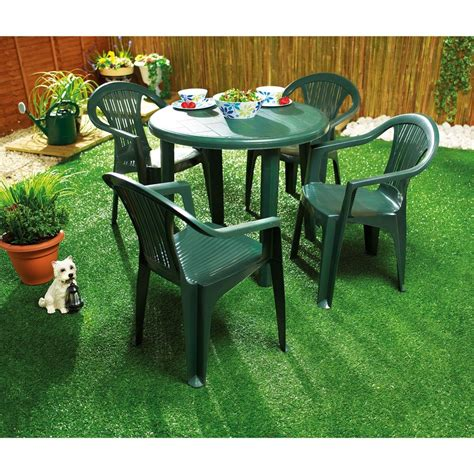 plastic outdoor table and chairs green plastic garden table for home use backyard