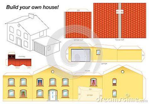 How To Make A 3d House Out Of Paper - 3d paper house print out paper model of a yellow house