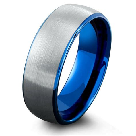Mens Ocean Blue Brushed Tungsten Wedding Band ? NorthernRoyal