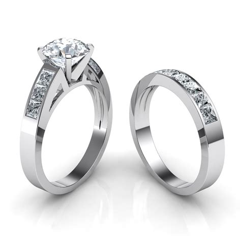 channel set engagement ring matching wedding