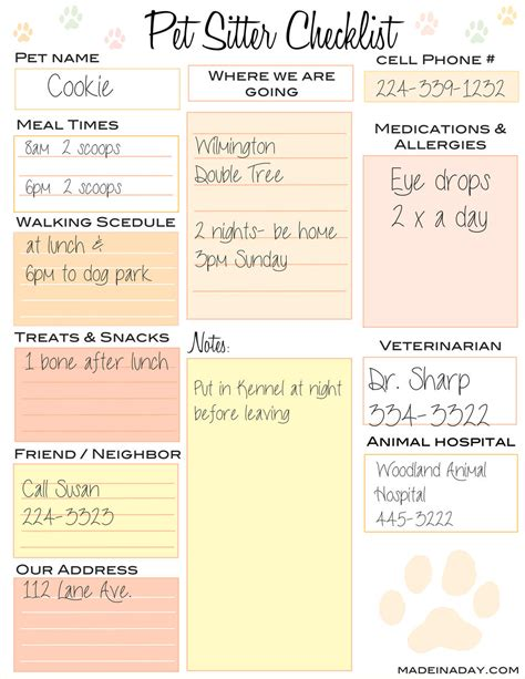 Pet Sitter Checklist Made In A Day Pet Sitter List Template