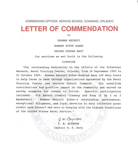 best photos of exle letter of commendation navy