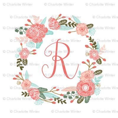 le lettere pi禮 d r monogram florals floral wreath blooms coral