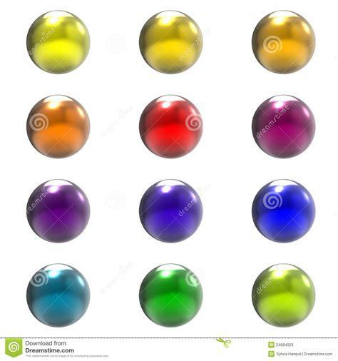 Chrome Metal Different Color Balls Group Stock Photos