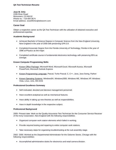 professional test technician resume template
